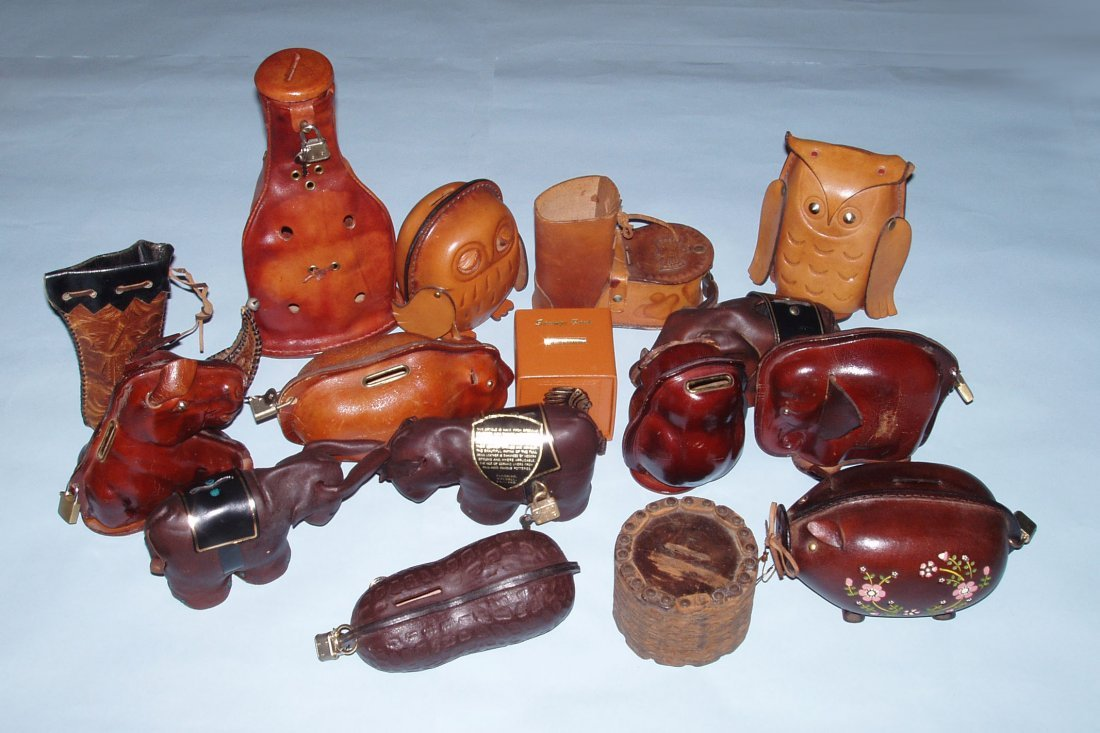 Lot of 65 Leather Banks