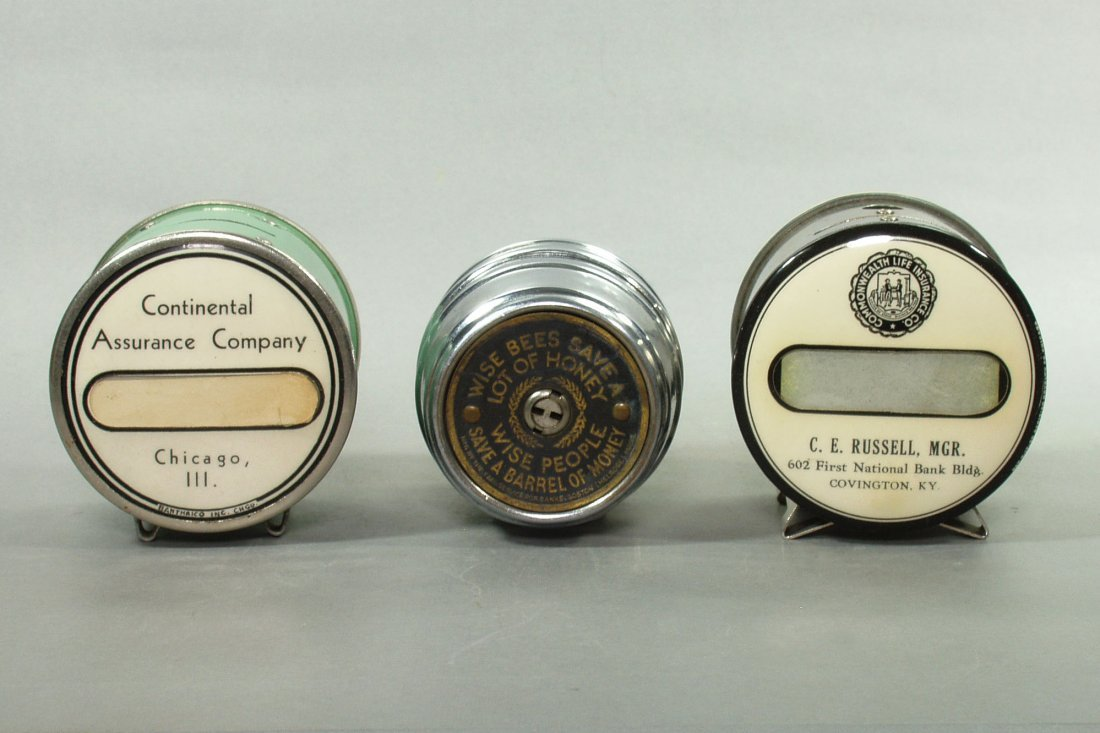 Lot of 3 Metal and Celluloid Insurance/Savings Banks