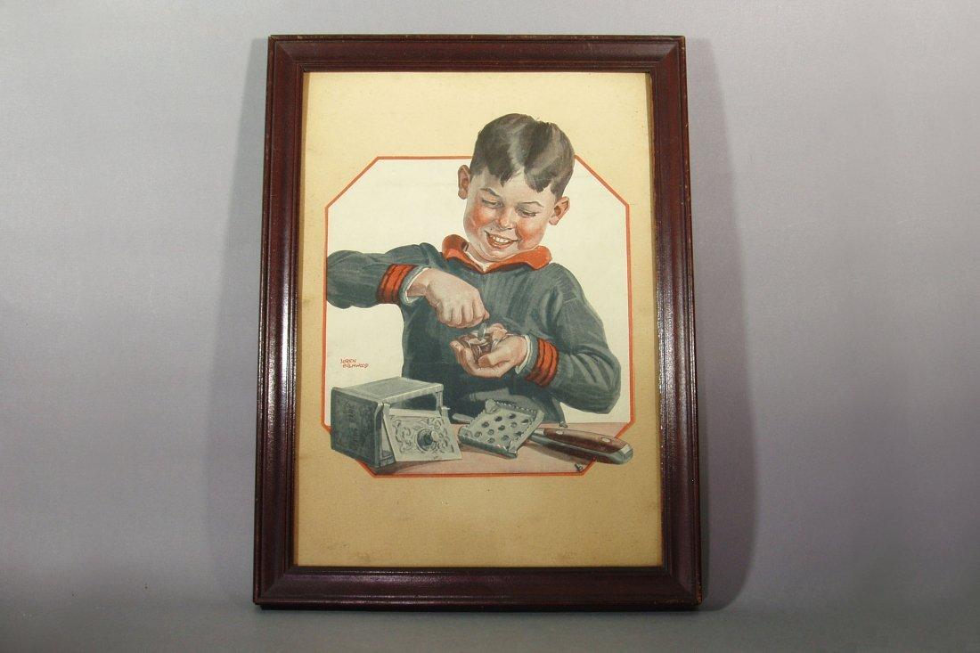 Framed illustration of child opening a safe bank