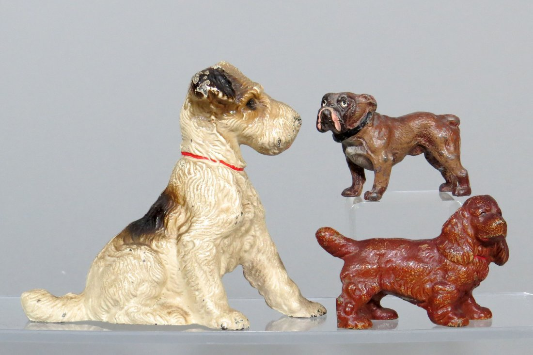 Lot of 3 CI and Metal Dog Paperweights