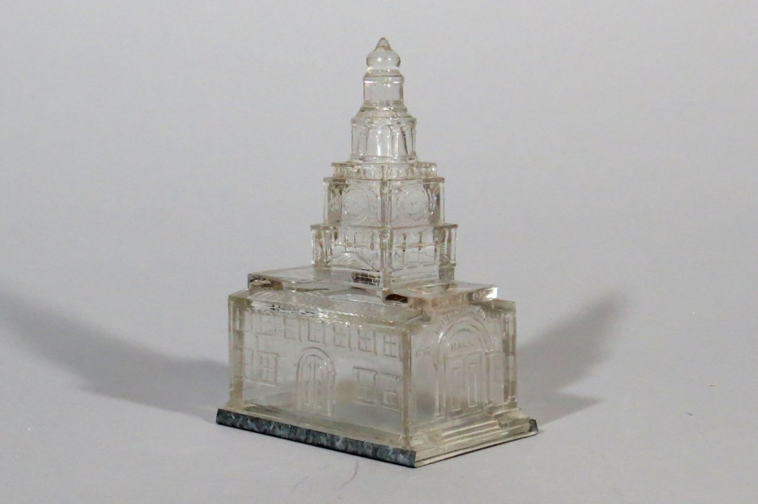 Glass Independence Hall Candy Container/Bank, Large