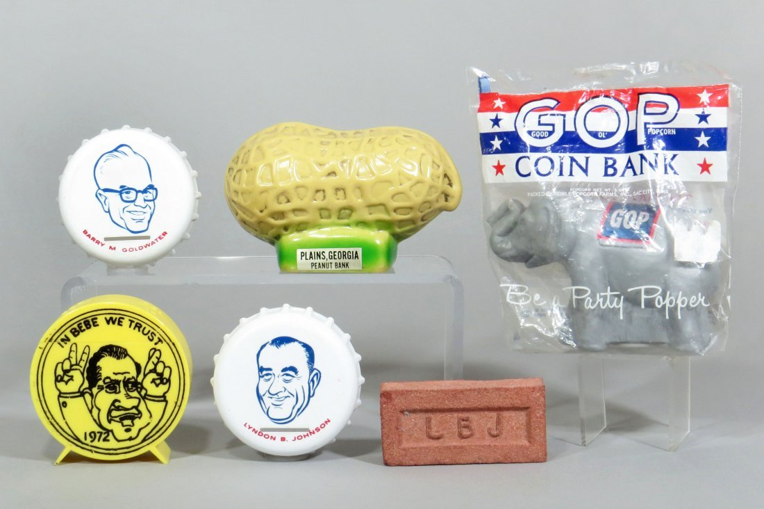 Lot of 6 Political Banks and Items