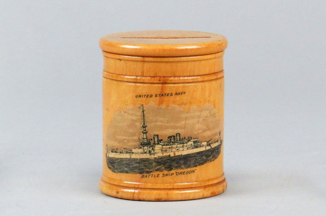 """Wood, """"United States Navy Battle Ship """"Oregon"""""""" Bank"""