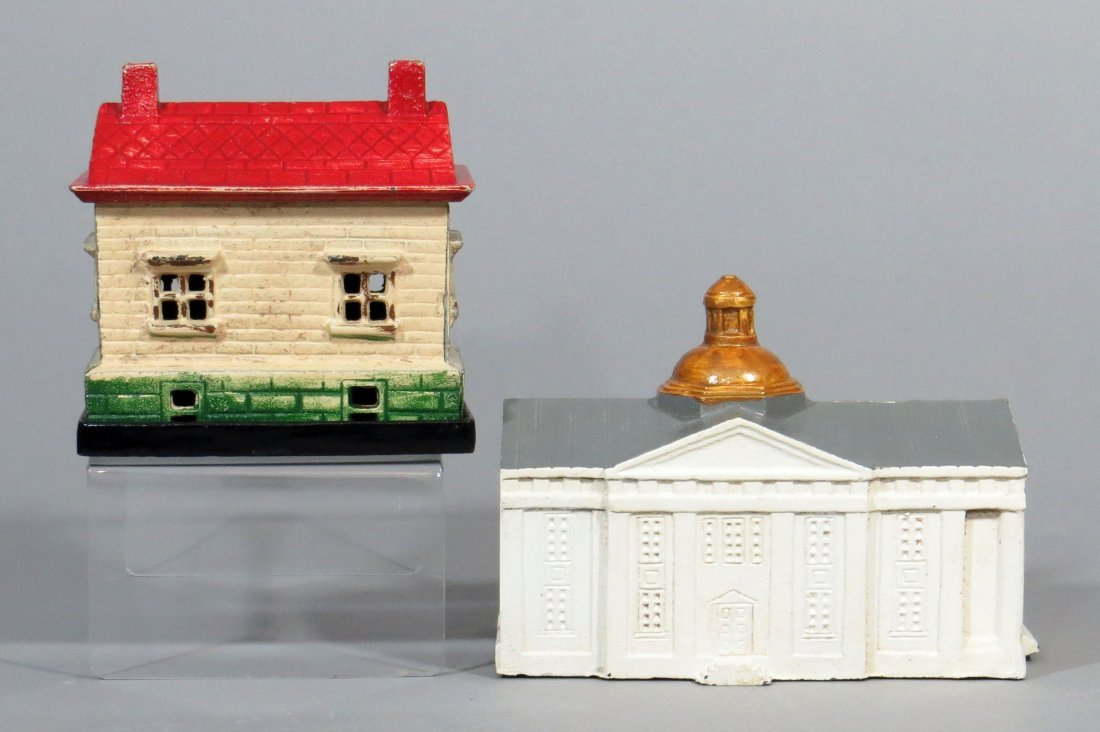 Lot of 2 CI Building Banks - 2