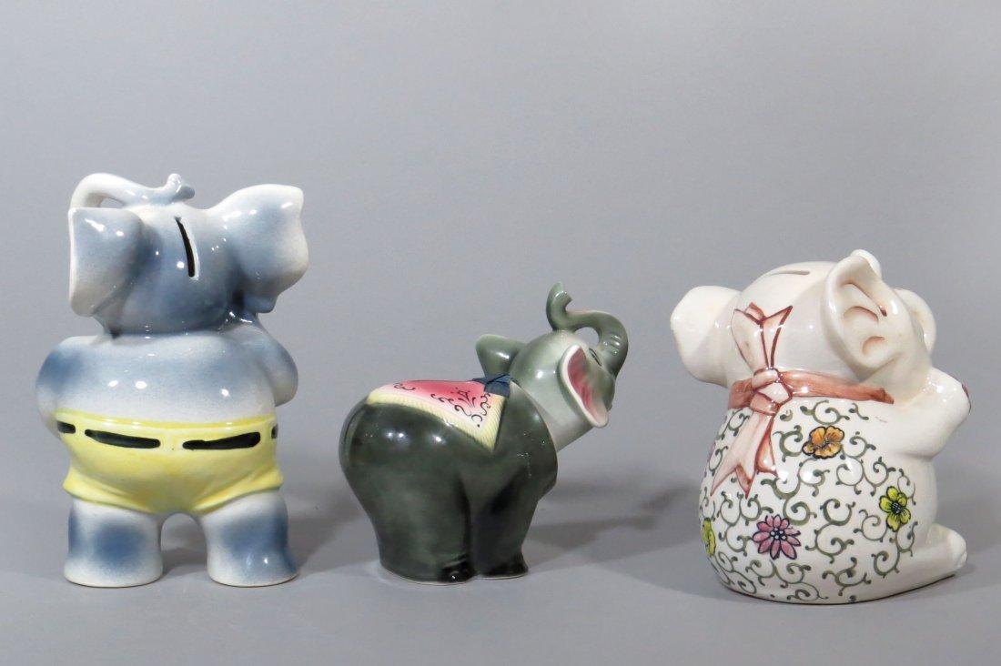 Lot of 3 Ceramic Elephant Banks - 2