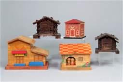 Lot of 5 Wood Bank Buildings