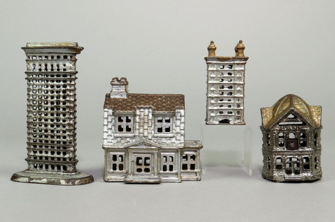 Lot of 4 CI Building Banks