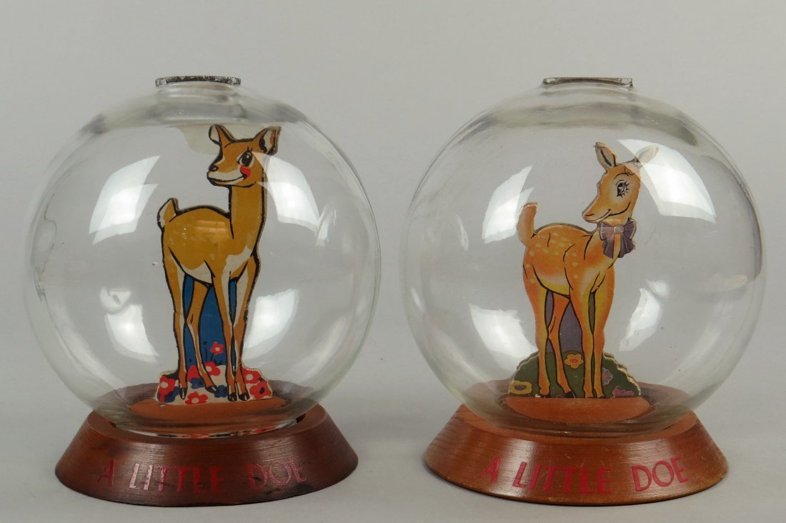 """Lot of 2 Wood and Glass """"A Little Doe"""" Bubble Banks"""
