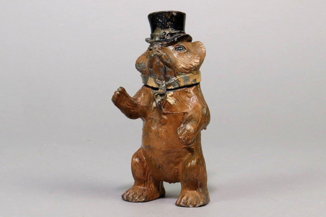 Spelter Standing Bear w/Top Hat Bank