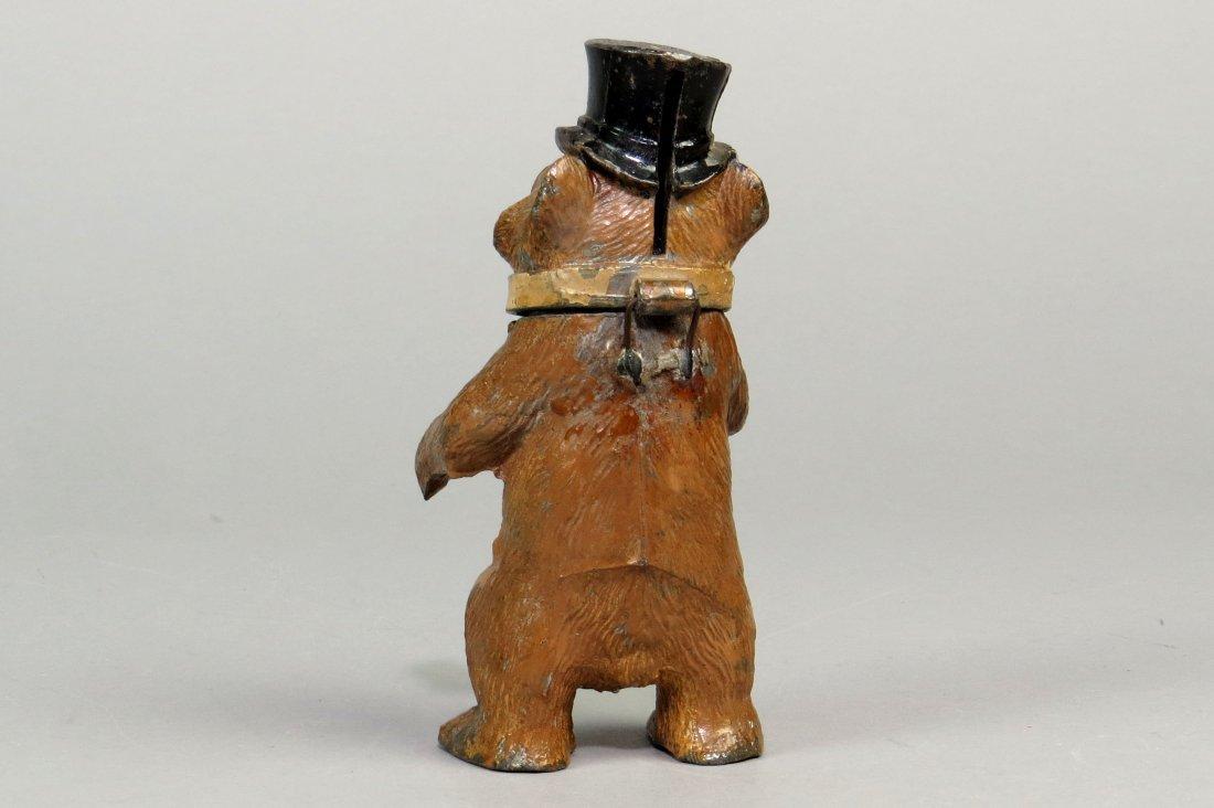 Spelter Standing Bear w/Top Hat Bank - 2