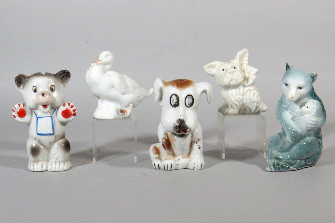 Lot of 5 Pottery Animal Banks