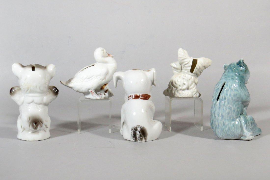 Lot of 5 Pottery Animal Banks - 2