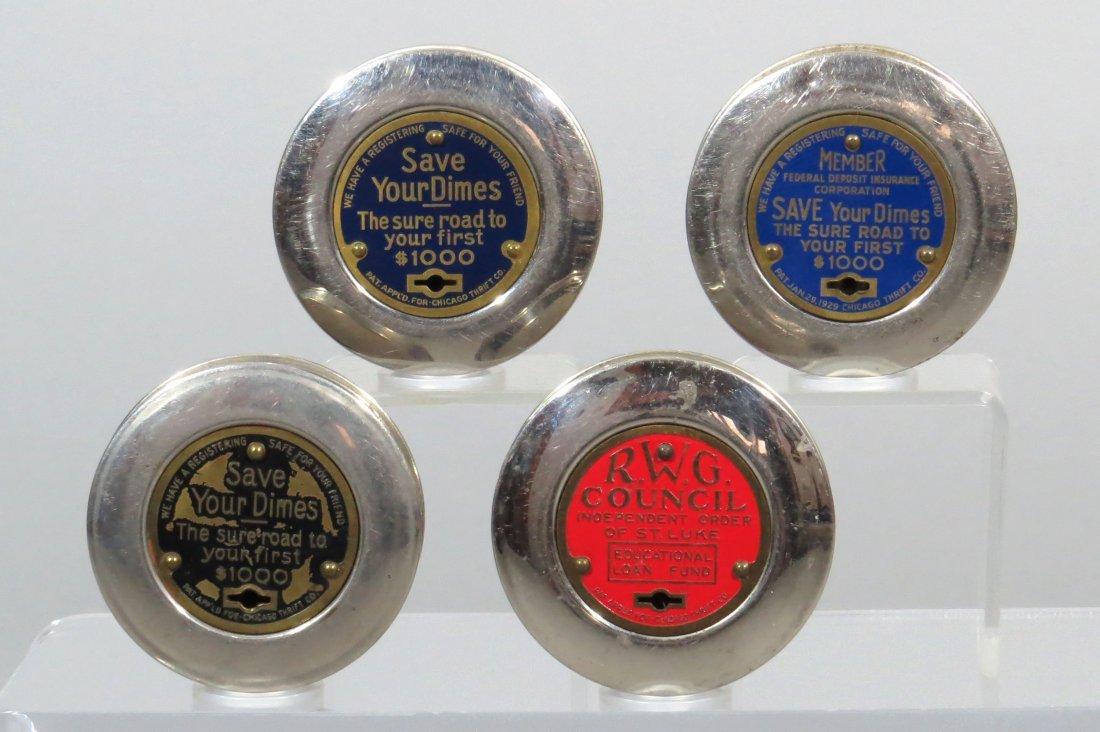 Lot of 4 Round Chrome Pocket Banks - 2