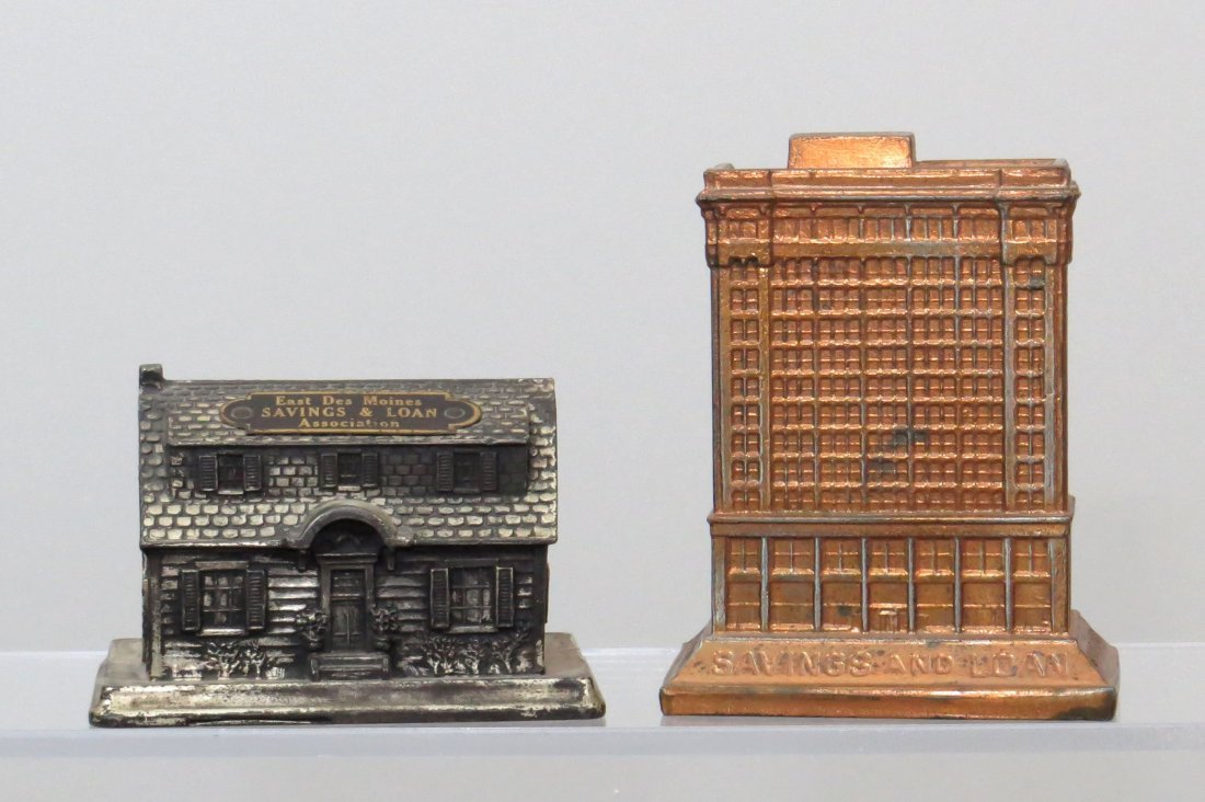 Lot of 2 Lead and Pot Metal Building Banks