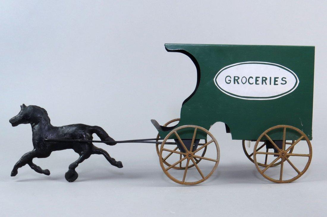 "Tin Horse Drawn ""Groceries"" Wagon Toy"