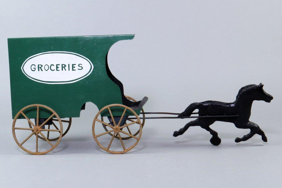 "Tin Horse Drawn ""Groceries"" Wagon Toy - 2"