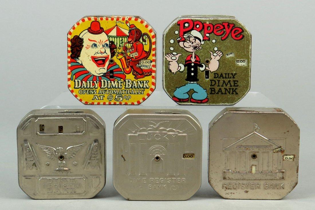 Lot of 5 Tin Pocket Dime Register Banks