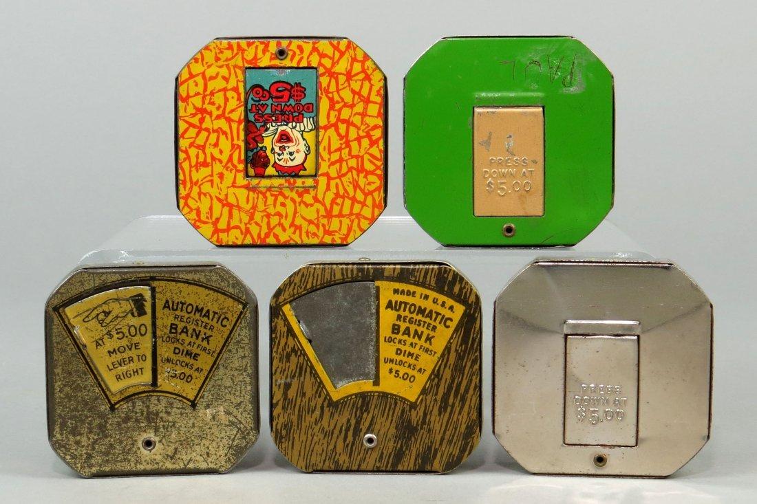 Lot of 5 Tin Pocket Dime Register Banks - 2