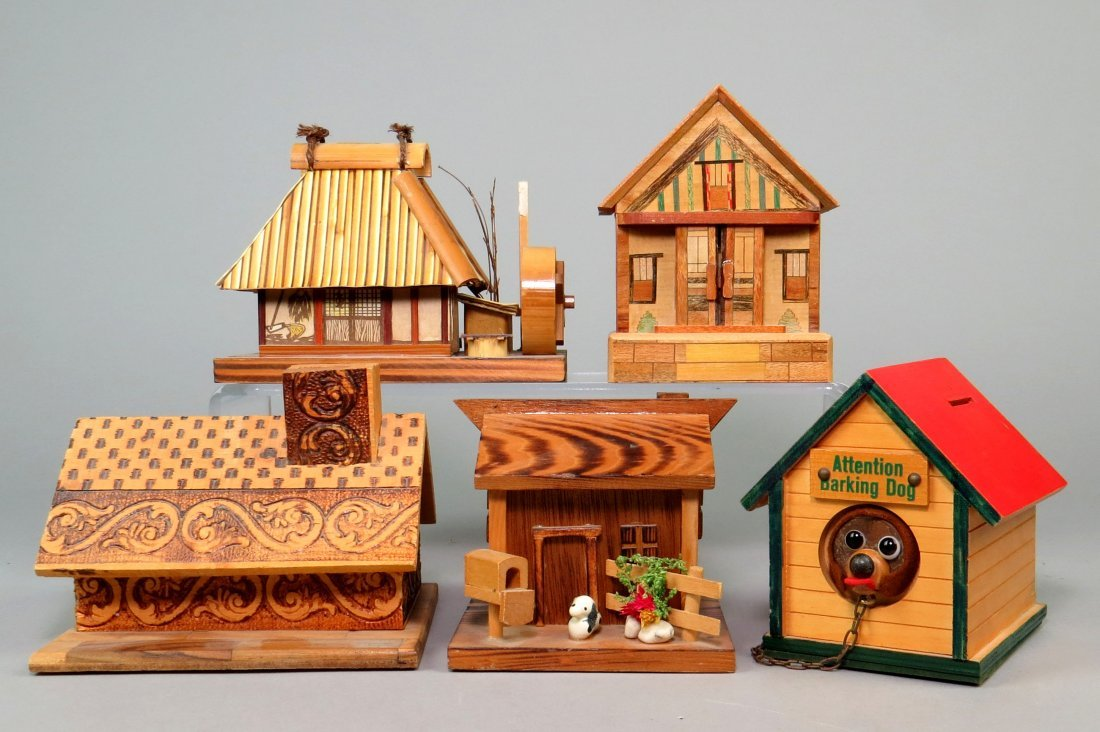 Lot of 5 Wood Building Banks