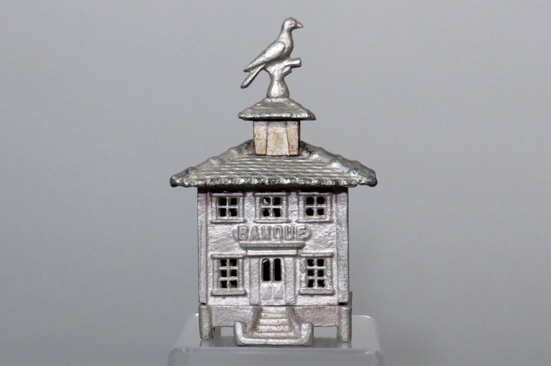 "Aluminum French ""Banque"" w/Bird Finial Bldg. Bank"