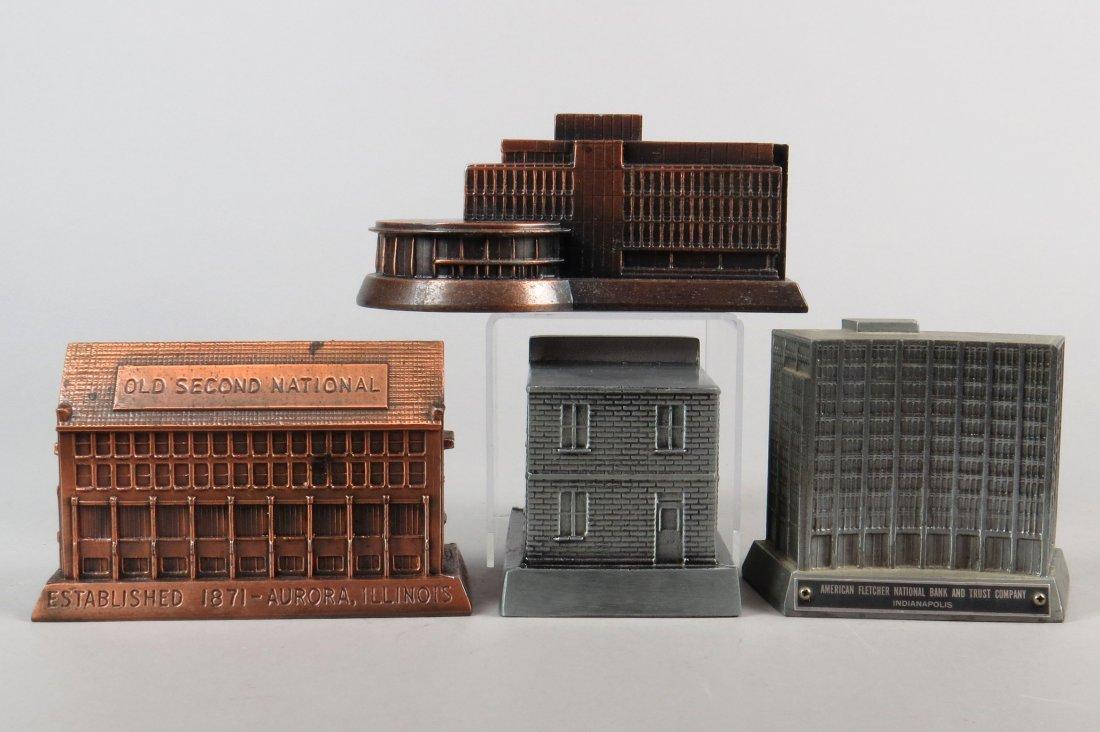Lot of 4 Pot Metal Banthrico Building Banks - 2