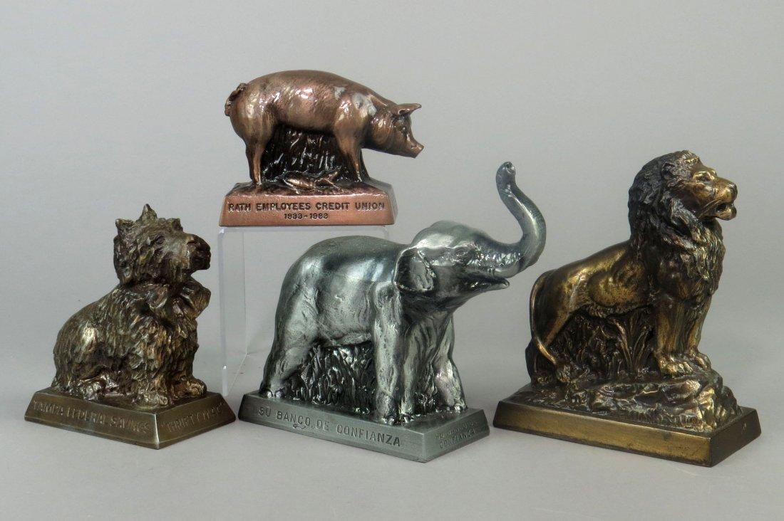 Lot of 4 Pot Metal Banthrico Animal Banks