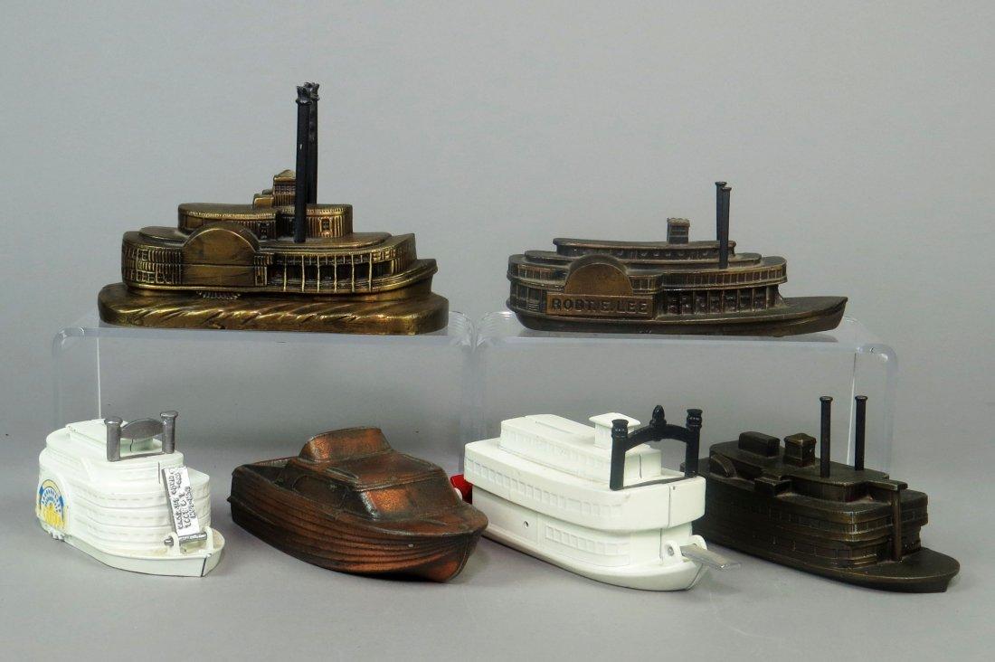 Lot of 6 Pot Metal and CI Boat Banks