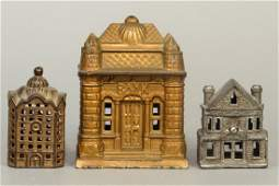 Lot of 3 CI Building Banks