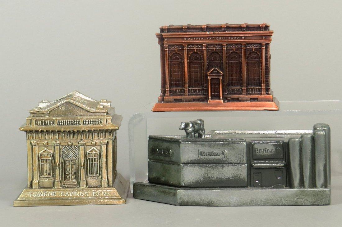 Lot of 3 Metal Building Banks