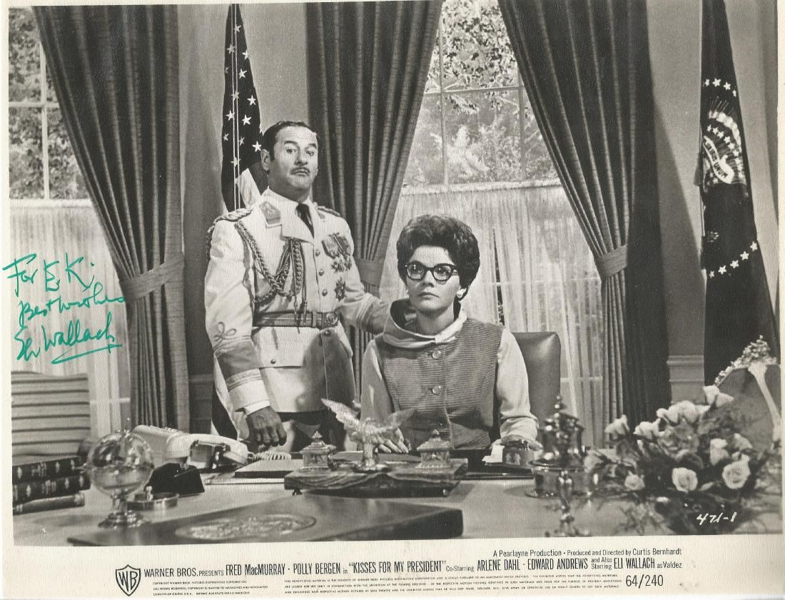 Eli Wallach signed 10x8 bw movie still from Kisses for