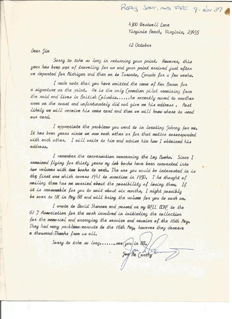 Joe McCarthy WW2 Dambuster veteran signed typed letter