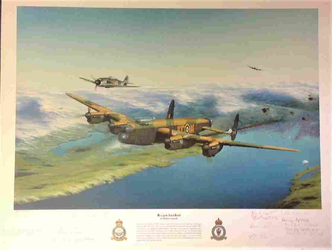 World War Two print 17x22 titled Bergen Incident signed