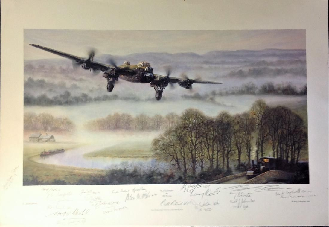 World War Two print 18x25 titled Lancaster signed in