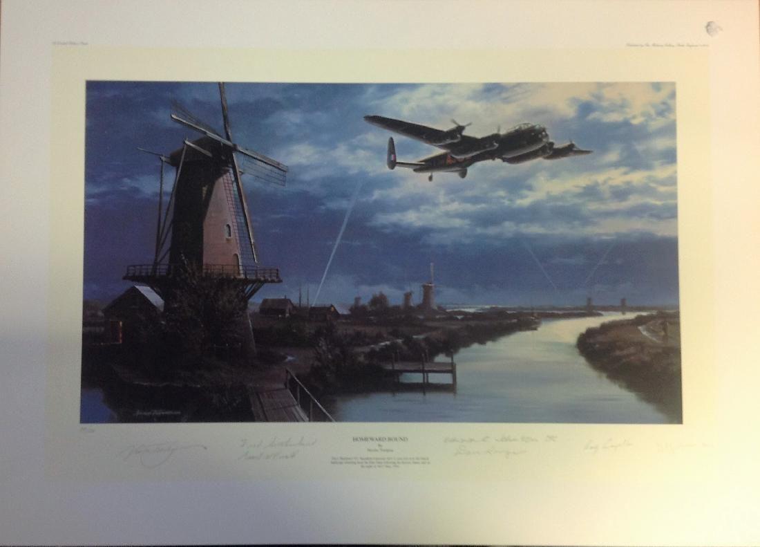 Dambuster World War Two print 19x26 titled Homeward