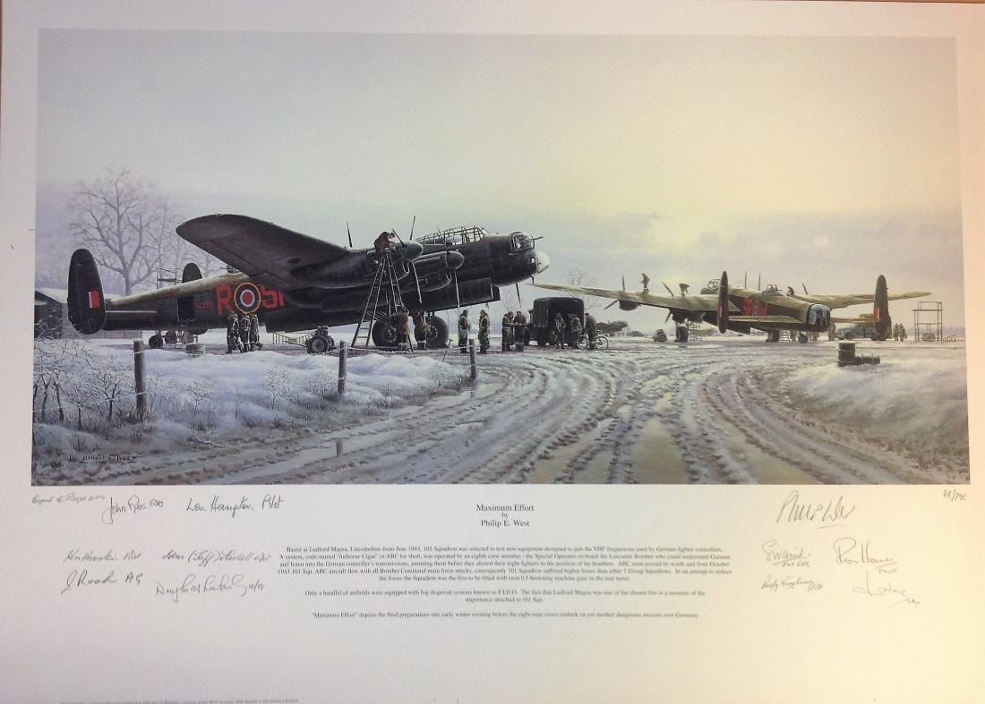 World War Two Lancaster print 20x28 titled Maximum