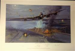 Dambusters World War Two print 19x28 titled Night of