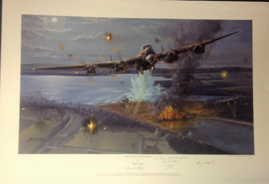 Dambusters World War Two print 19x28 titled Night of