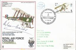 RAF College Cranwell flown cover signed by Grp Capt