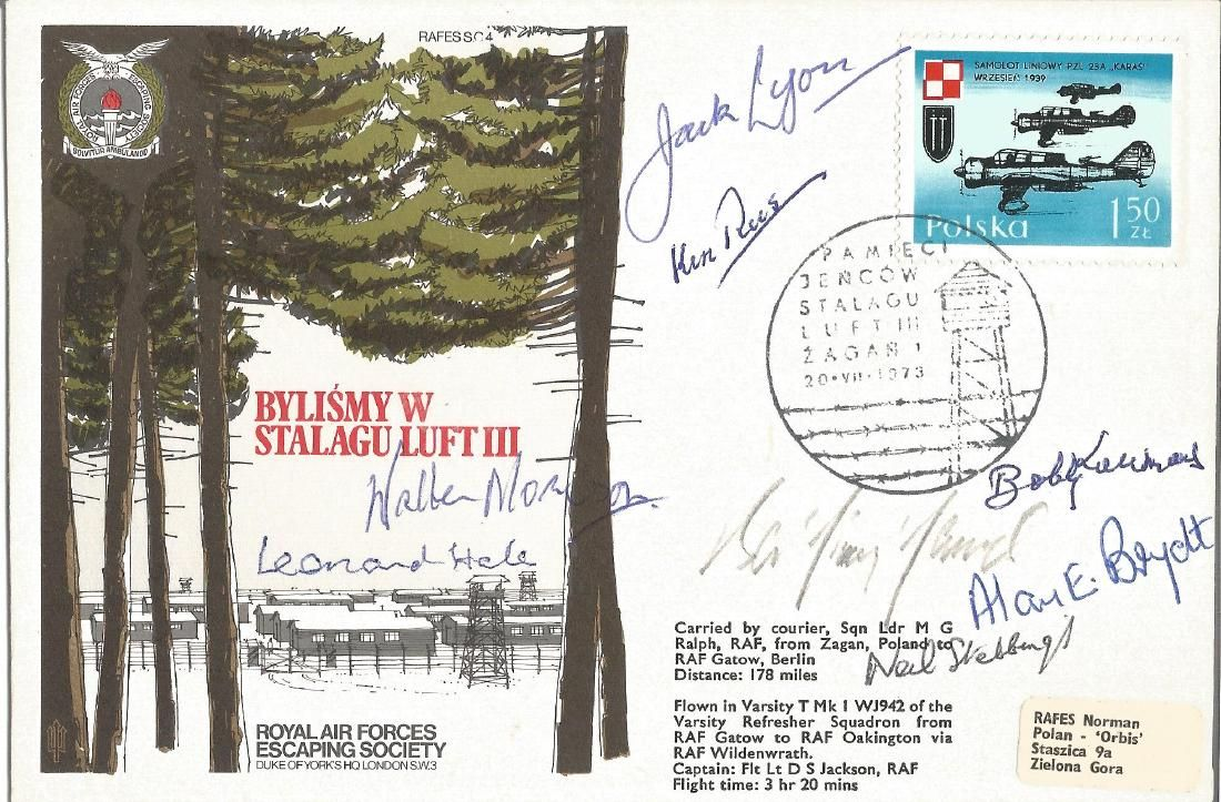 Eight WW2 POWS rare signed Escape from Stalag Luft III