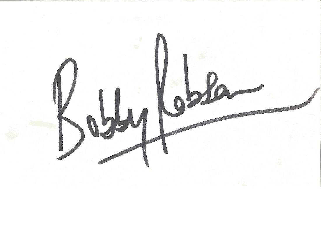 Bobby Robson signed 6x4 white card. Good Condition. All