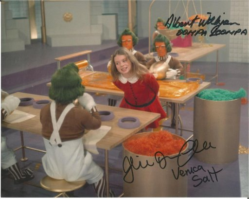 Willy Wonka & The Chocolate Factory dual signed 10x8