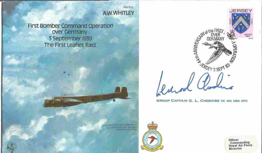 Leonard Cheshire VC signed AW Whitley RAF bomber cover.