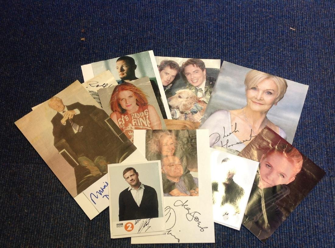 TV signed collection. 12 items mainly magazine photos.