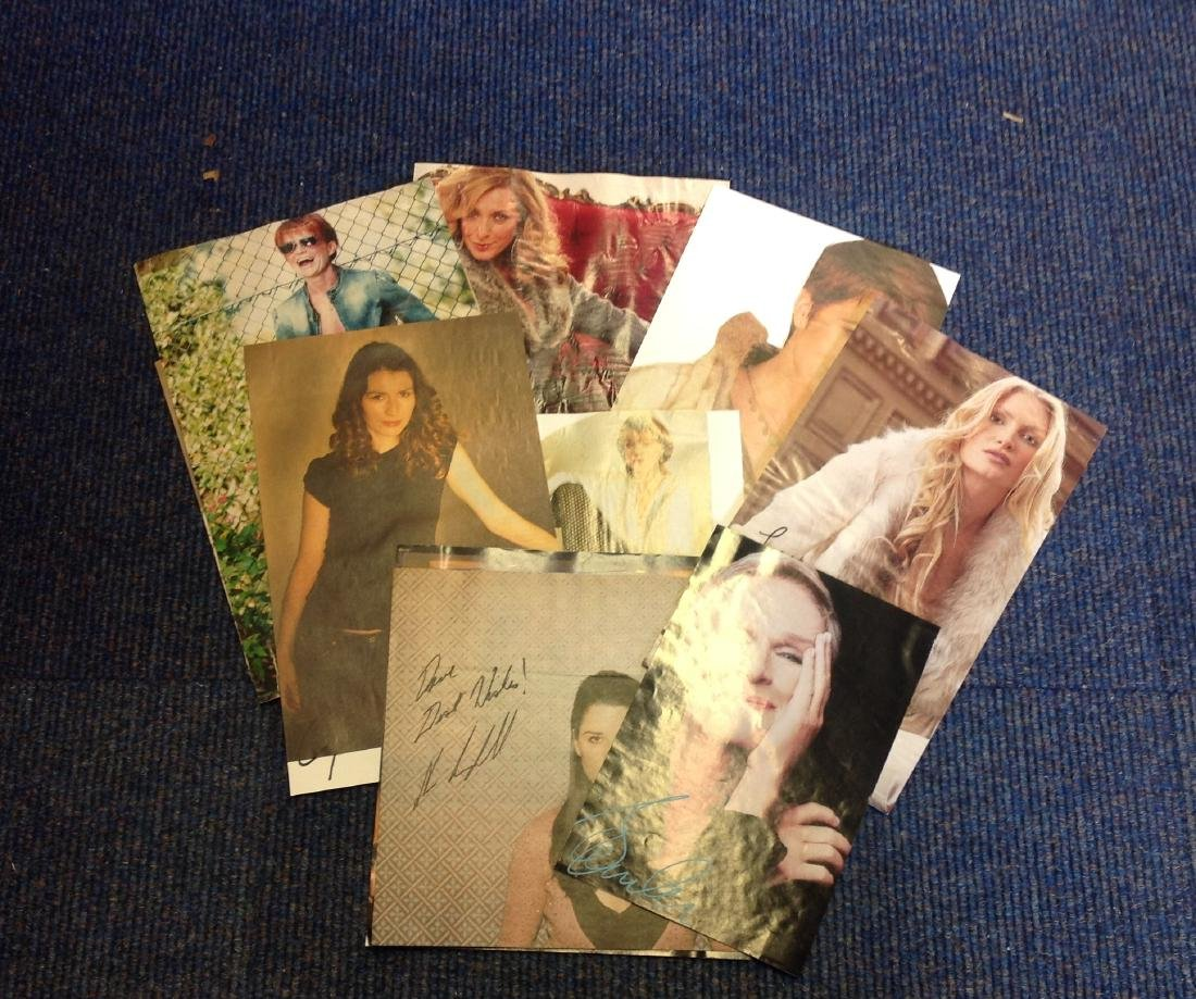 TV Female signed collection. 9 items. Mainly newspaper