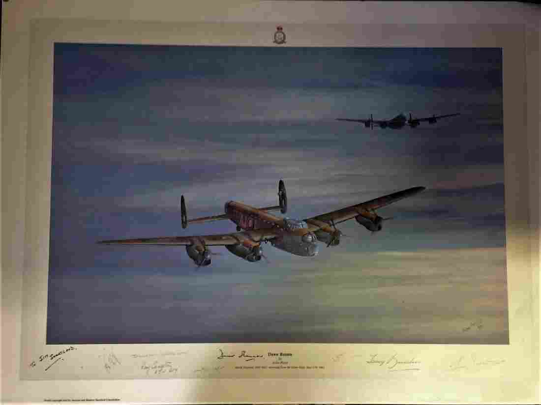 Dambuster World War Two print 19x27 titled Dawn Return