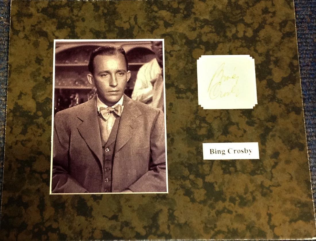 Bing Crosby signature piece mounted alongside b/w