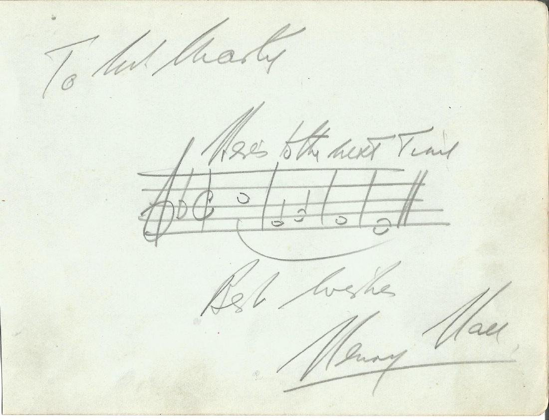 Henry Hall signed album page with music score added.