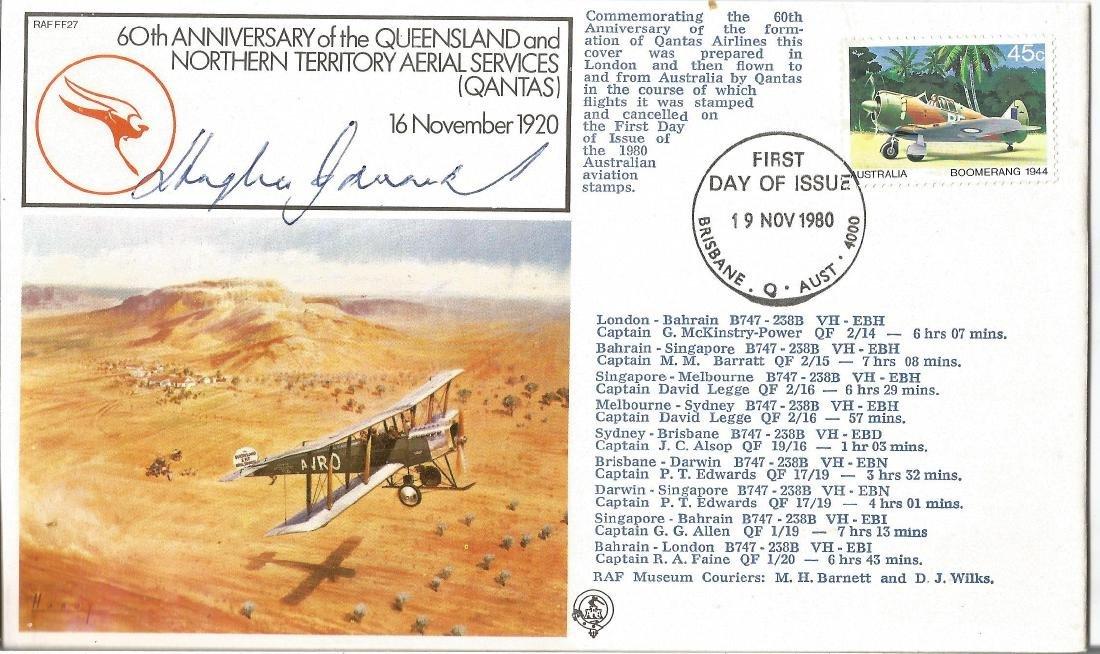 Hughie Edwards VC WW2 signed First Flight QANTUS