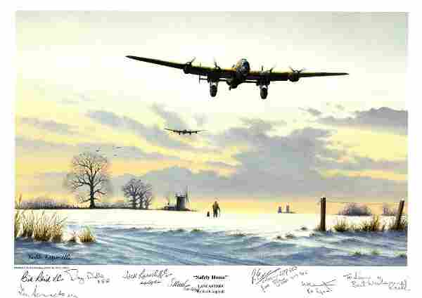 World War Two print approx 12x16 titled Safely Home by