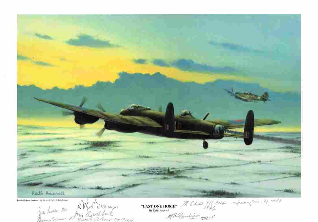 """World War Two print approx 12 x16 titled """"""""Last One"""